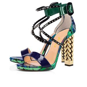 FSJ Gold Metal Chain Heel Ankle Strap Sandal